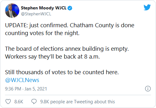 Breaking: As GOP Pulls Ahead in Georgia Senate Races, Democrat County Stops Counting Votes for the Night More Election Fraud!! Image-163