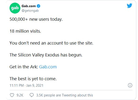 Gab Picking Up 10,000 Users Per Hour, CEO Claims, After Trump's Twitter Ban Image-331