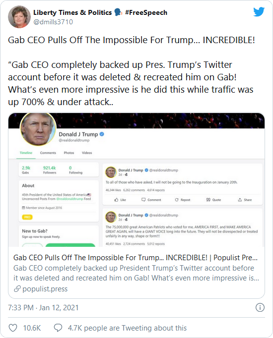 WOW! Gab CEO Defies Tech Tyrants – Restores ALL of President Trump's Tweets from Twitter  Image-439