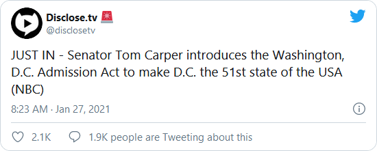Here We Go… Sen. Tom Carper Introduces Washington DC Admission Act to Make Nation's Capital its 51st State Image-836