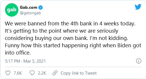 Gab's Torba Looking Into 'Buying Our Own Bank' After 4th Bank Ban In 4 Weeks Image-131