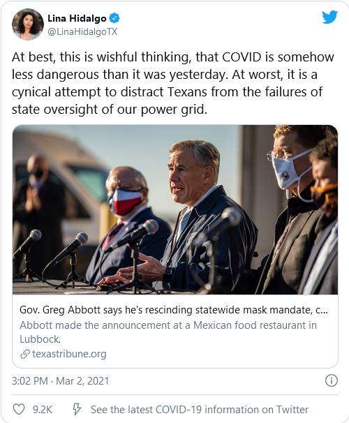 TRIGGERED! Democrats Furious After Texas Gov. Lifts Mask Mandate Image-56