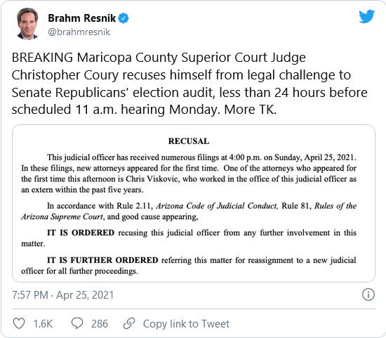 Maricopa County Judge Handling Audit Challenge Recuses Himself Last Minute Before Hearing Image-1347