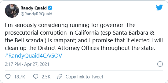 Randy Quaid Is 'Seriously Considering' Running for California Governor Image-1455