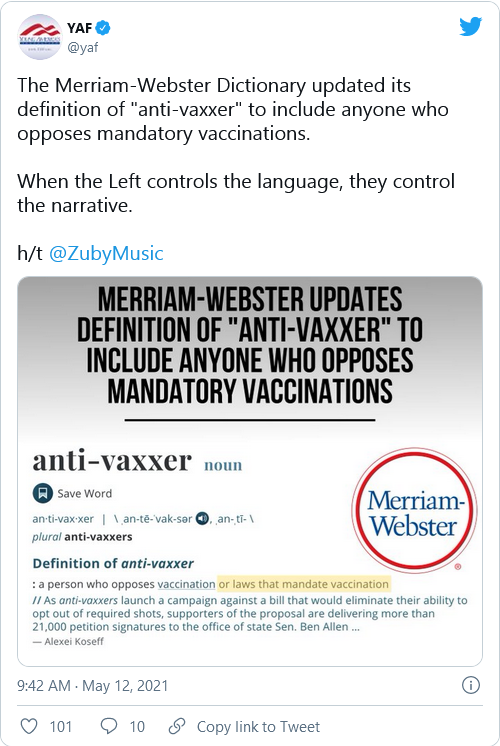 According to Merriam-Webster 79% of you are now considered 'Anti-Vaxxers'  Image-719