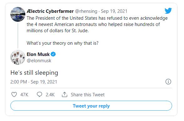 "Elon Musk Knocks Biden for Ignoring SpaceX Mission: ""He's Still Sleeping"" Image-1559"