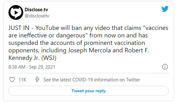"""Google-YouTube to Ban ANY CLAIMS that """"Vaccines are Ineffective or Dangerous"""" despite the Death Numbers – Suspends Robert F. Kennedy's Account Image-2127"""