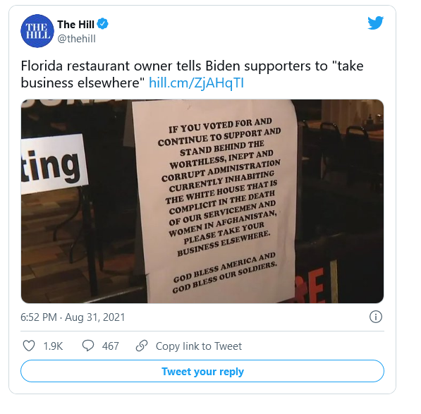 UPDATE: Florida Restaurant Refusing to Serve Biden Voters Shuts Down After Selling Out of Food! Image-321