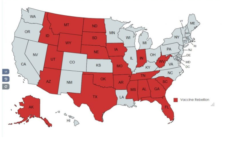 Map of states that won't comply with Covid-19 Mandate Image-973